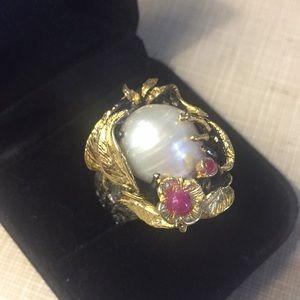 Majestic Baroque creamy white pearl ruby R…